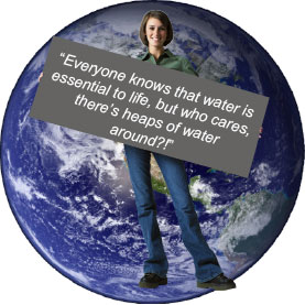 Earth with woman holding sign about water