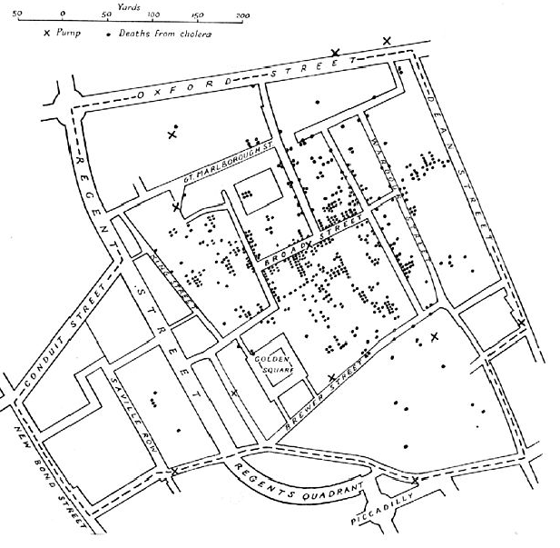 Original map by John Snow showing the clusters of cholera cases in the London epidemic of 1854.